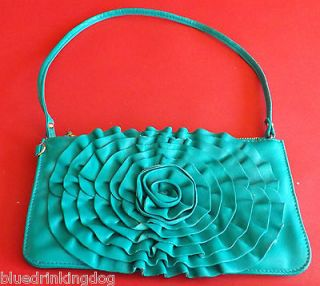 MODALU NEW EMERALD GREEN SOFTEST LEATHER HANDBAG/CLUTCH BAG/WRIST BAG