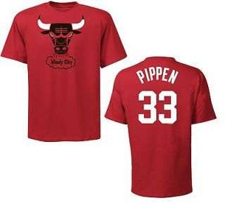 Chicago Bulls Scottie Pippen Red Name and Number NBA Jersey T Shirt