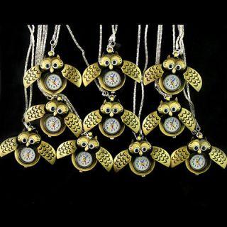 Newly listed Wholesale 10pcs Great Good OWL Necklace Pocket Pendant