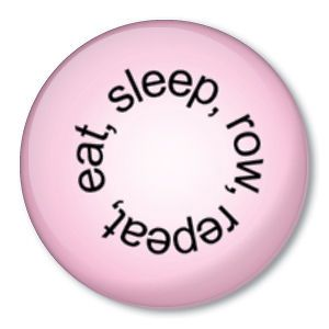 eat sleep row repeat pink crew pin rowing oars button