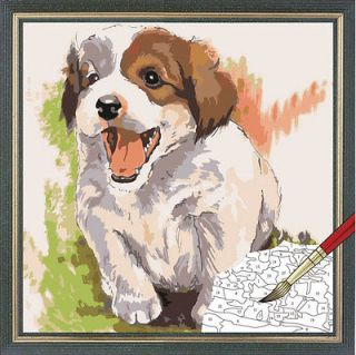Acrylic Paint by Number kit 40x40cm (16x16) Cute Dog DIY Painting