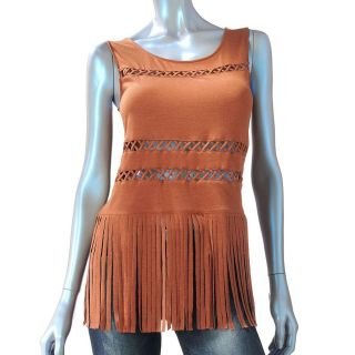 nwt Rock & Republic Womens Lattice Fringe TANK TOP Boho Biker Brown