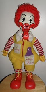 Vintage 1978 RONALD McDONALD 22 Plush DOLL with Blowing WHISTLE and