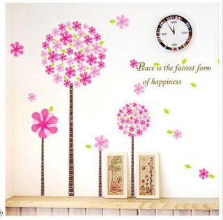 PINK Fkying FLOWER TREE Girl Kids Bedroom Nursery Removable Wall