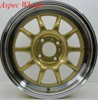 16X7 ROTA GOLD GT3 WHEELS 4X100 RIMS FITS 4 LUG CIVIC CRX SI XB
