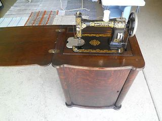 Antique White Rotary Treadle Sewing Machine and Cabinet, Working, S/N