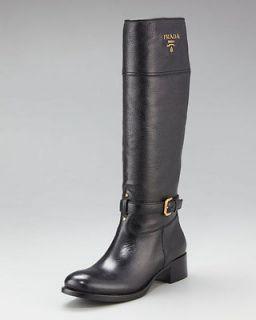prada tall logo black leather riding boots size 39