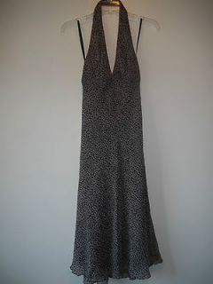 ry) BCBG Paris black pink gray geometric 100% silk halter summer dress