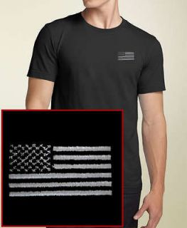 blacked out american flag embroidered black t shirt usa