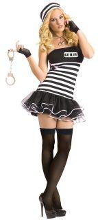 Costume Halloween Dress Jail Sexy Jailbird Prison Stripes Sexy