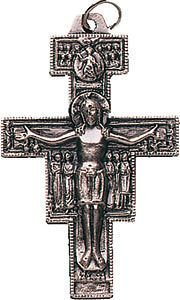 WHOLESALE 1.5 ST SAINT FRANCIS ASSISI Silver Metal Crucifix Cross