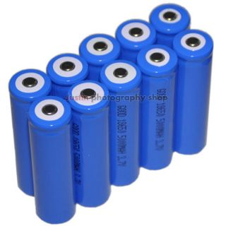 10 Li ion Rechargeable Battery Pack 18650 for laser LED Flashlight