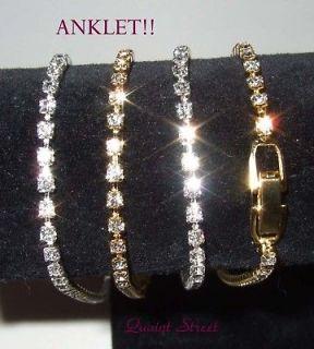Petite Tennis Anklet / Ankle Bracelet Clear Crystal 10 Gold