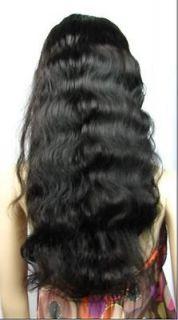22 (55CM) Long BODYWAVE Indian Remy Human Hair lace Wig  1# Jet Black