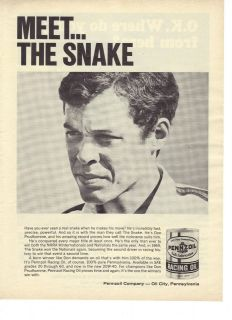 1969 Pennzoil Racing Oil Meet The Snake Don Prudhomme NHRA Ad