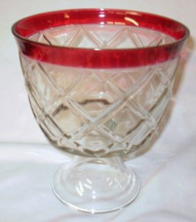 Vintage Indiana Glass Ruby Flashed Center Bowl / Compote / Punch Bowl