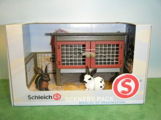 schleich retired rabbit hutch 41216 w 2 retired rabbits 13121