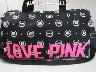 NWT VICTORIA SECRET LOVE PINK TRAVEL DUFFLE BAG LIMITED EDITION BLACK
