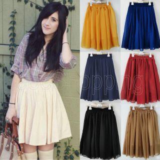 Sale Mini Retro High Waist Pleat Double Layer Chiffon Dress Skirt Free