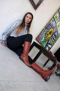 RALPH LAUREN Women $875 Camel BROWN Cowboy Riding Style BOOTS Shoe Sz