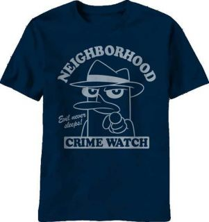 Phineas and Ferb Perry Neighborhood Crime Watch Navy T Shirt