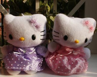 New 2PCS Hello Kitty Purple &Pink Plushies Dolls Girls best gift~free