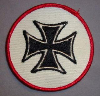 vtg iron cross patch badge hot rod biker rockabilly time