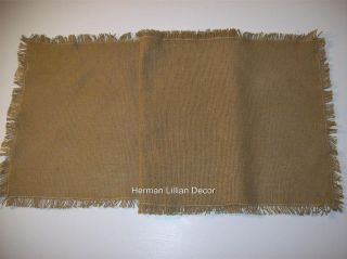 13 X 36 Burlap Table Runner 100% Cotton Fringed