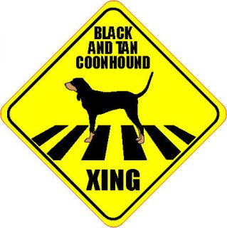 BLACK AND TAN COONHOUND XING CROSSING ROAD SIGN 5 DOG SILHOUETTE