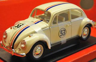 HERBIE VW Beetle diecast model rally car cream No.53 118th scale