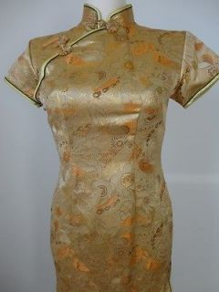 Womens GOLD Gorgeous CHINESE Embroidered Silk Long DRESS M
