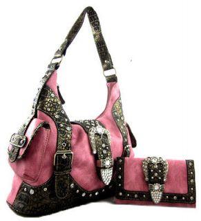 Western Cowgirl Rhinestone Belt Buckle Single Strap Purse Bag Wallet