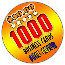 1000 business cards color double sided  left $ 30 00