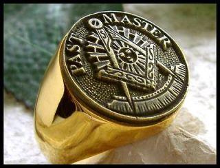 US SIZE 12.5 PAST MASTER MASON MASONIC RING DEGREE 24K GOLD PL STEEL