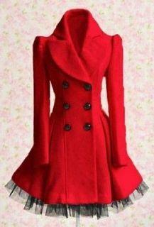 fashion women slim wool blend trench warm coat dress jacket double