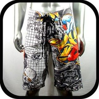 Minute Mirth Shorts Swim Board Tattoo Surf K3 Sz 38 Graffiti Street