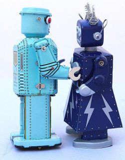 ROBOTS TIN TOYS MECHANICAL TIN TOY & ELECTRA CLOCWORK WIND  SPACE