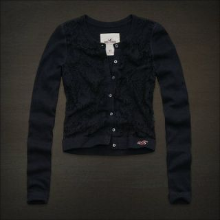 Hollister HCO Women Navy Blue Floral Lace Cardigan Sweater Top New