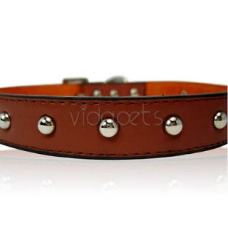 17 21 brown leather studded dog collar large time left