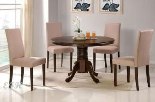 5pc cappuccino round wood top pedstal dining table set time