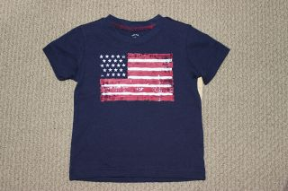 NWT Carters Top Tee Toddler Boys S/S Navy Blue American Flag Free