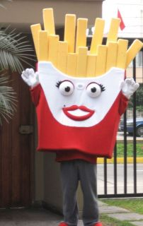 french fries mascot costume great mktg tool hamburger and hotdog