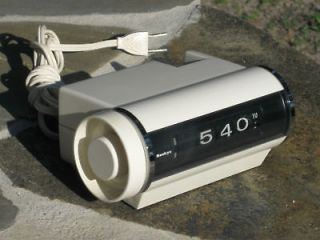 mid century space age white sankyo roll alarm clock time