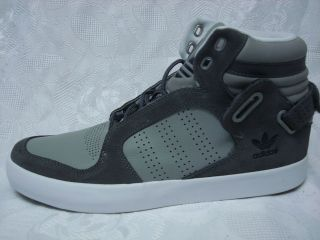 MENS ADIDAS HIGH TOP GRAY LEATHER & SUEDE STRAP SHOES SZ 11 BASKETBALL