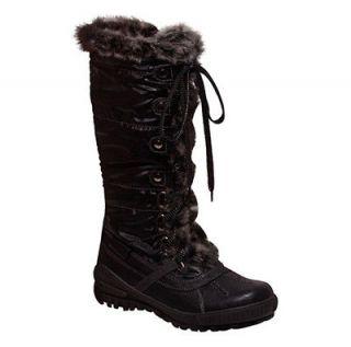 NEW WOMENS WARM WINTER LACE TIE UP FLAT HEEL BOOTS W/ FAUX FUR LINING