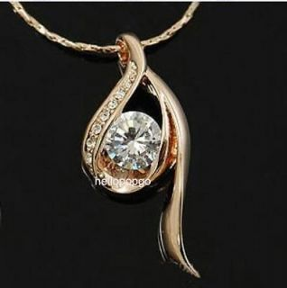 Unique Fashion 18K Rose Gold Gp White Swarovski Crystal Necklace A35