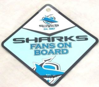 99399 CRONULLA SHARKS NRL PLASTIC FAN ON BOARD STICK ON CAR WINDOW