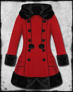 HELL BUNNY SARAH JANE RED & BLACK FUR TRIM HOODED WOOL MIX WINTER