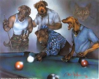 Bloodhound Bullmastiff Airedale Terrier Grayhound Dogs Playing Pool 8