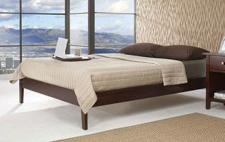 Modern Low Profile Platform Bed Mahogany Wood Twin Queen Or King Size
